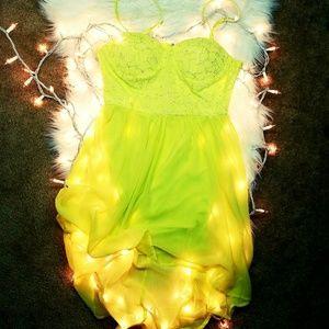 Neon yellow mini dress